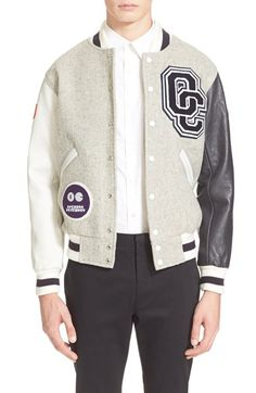 Free shipping and returns on Opening Ceremony 'OC Classic' Varsity Jacket at Nordstrom.com. Team OC is obsessed with the varsity jacket, and this latest offering features fresh, bold color blocking to invade your wardrobe and pep up your team spirit. With supple leather sleeves, a rich wool-blend body, and sporty striped trim, this fantastic style will have you looking like the superstar you are, on the track and around town. You're number one.