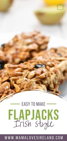 Easy to follow delicious oat bar recipe to make Irish flapjacks at home Oat Bars, Oatmeal Bars, Irish Recipes, Vegan Recipes, Flapjack Recipe, Baking Tins, Breakfast On The Go, Tray Bakes, Food To Make