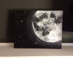 Orange Moon and Stars Acrylic Painting 11x14 by GraceAndForm