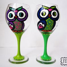 Painted Owls wine glass