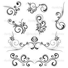 Digital Clip Art Clipart Vintage Inspired Flourish Swirls