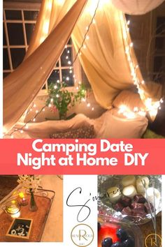 Our camping date night at home includes a menu, decor, games, movie & music suggestions. night ideas at home diy Creative Date Night Ideas, Romantic Date Night Ideas, Cute Date Ideas, Romantic Dates, Romantic Surprise, Romantic Gifts, Home Date Night Ideas, Indoor Camping, Backyard Camping