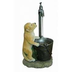 Puppy at Tap Water Feature (Solar Powered)