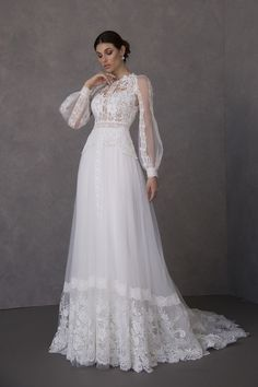 While each season of bridal fashion week brings a number of trends, designers at the last market showed a variety of gowns featuring statement long sleeves – b… Puffy Wedding Dresses, Modest Wedding Gowns, Lace Wedding Dress With Sleeves, Tea Length Wedding Dress, Long Sleeve Wedding, Dream Wedding Dresses, Bridal Dresses, Dress Lace, Long Sleeve Lace Gown