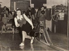 1940s woman bowling