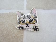Grey Cat Patch  Embroidered Patch  Iron On Patch