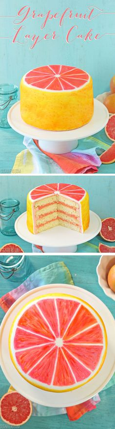 This gorgeous grapefruit layer cake is made with moist grapefruit cake, grapefruit curd, and grapefruit buttercream, and painted to look like a grapefruit!