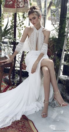 XO by Limor Rosen 2019 Wedding Dresses - Luna boho halter wedding dress with off the shoulder sleeve | Glamorous bohemian bridal gown with a high collar neck line, delicate beaded lace, matched with a ruched chiffon skirt | Rustic wedding gown #weddingdress #weddingdresses #bridalgown #bridal #bridalgowns #weddinggown #bridetobe #weddings #bride #weddinginspiration #dreamdress #fashionista #weddingideas #bridalcollection #bridaldress #fashion #bellethemagazine #ido #dress