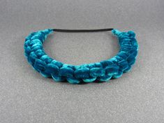 Turquoise knotted headband braided headband silk by DisByBergdis