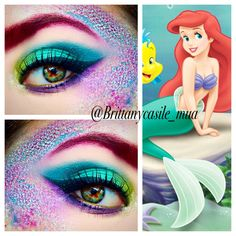"The Little Mermaid inspired Halloween Makeup @brittanycasile_mua using Urban Decay Vice 3 & Electric Palette Details:  Inner corner: Thrash- Electric palette  Lid: Dragon on lid & Freeze through crease, on the Outer V I mixed freeze and heroine and also blended into the crease to deepen it.- Vice 3 Lower lash line: Vanity - Vice 3 & Urban - Electric Palette  for the ""scales"" Savage & Urban from the Electric Palette, Dragon & Freeze from the Vice 3 palette Glitter is Wet N Wild Fantasy…"