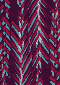 """Pink and Blue Painterly Chevrons by Sarah Bagshaw. (Hmmm this looks red and blue on my monitor but titled """"Pink."""" So the actual print must look different). Textiles, Textile Prints, Textile Patterns, Textile Design, Pretty Patterns, Beautiful Patterns, Pattern Art, Pattern Design, Paint Chevron"""