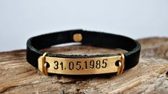 Would so love this for Xmas or My bday but the date being 05-29-2001 which is my lil sisters bday and she means the world to me. Personalized Men bracelet leather by FosforStore, $35.00