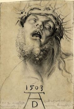 Albrecht Dürer - Head of the Dead Christ 1503 Charcoal on paper 310 millimetres x 221 millimetres The British Museum, London Albrecht Durer, Britisches Museum, Proportions Du Corps, Renaissance Kunst, Crown Of Thorns, Italian Artist, Christian Art, Religious Art, Painting & Drawing