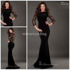 Hot sale Bateay Mermaid Brush Velvet Long sleeves Zip Lace Prom dresses Sexy evening dress Plus size