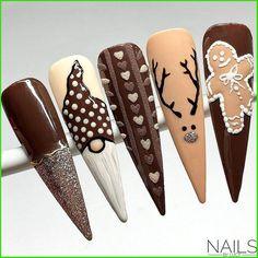 Nail Art Noel, Xmas Nail Art, Cute Christmas Nails, Holiday Nail Art, Xmas Nails, Halloween Nails, Simple Acrylic Nails, Best Acrylic Nails, Cute Nails