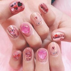 New nails design pink fashion Ideas - Pinto Online Navy Nails, Bright Red Nails, Pink Nails, Trendy Nails, Cute Nails, Korea Nail Art, Pink Nail Designs, Nails Design, Sparkle Nail Polish