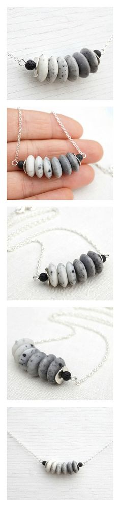White to Gray Ombre Stone Necklace. Bar Necklace Stacked Black Lava Stone Necklace. Sterling Silver Chain Modern Minimalist Simple Necklace (46.00 USD) by KapKaDesign