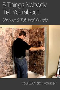 Learn 5 things nobody tells you about grout free shower and tub wall panels. Bathtub Walls, Diy Bathtub, Bathroom Tub Shower, Bathroom Wall Panels, Shower Wall Panels, Basement Bathroom, Shower Doors, Bathtub Surround, Shower Remodel