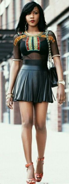 Topshop Top  H&M Leather Skirt  BCBG Leather Belt   Schutz Shoes  Chanel Jumbo Classic / The Look by Sherece