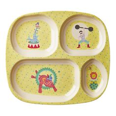Children's Melamine Sectioned Plate: Yellow Circus Print – Shop Sweet Lulu