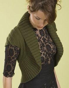 Free knitting pattern for Shawl Collar Chevron Shrug and more easy shrug knitting patterns
