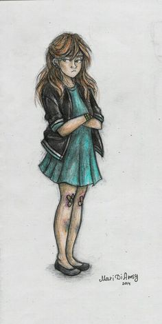 My sister seldom wears dresses, so I couldn't miss a chance to draw her in the dress!