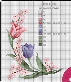 Cross Stitch Art, Cross Stitch Flowers, Cross Stitch Patterns, Pixel Crochet, Knit Crochet, Small Flowers, Color Patterns, Needlepoint, Embroidery Patterns