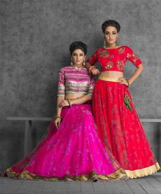 crop top lehenga, elbow length sleeves, striped blouse, pink and blue lehenga, friend of the bride, spring summer weddings