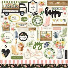 "Spring Market 12""x12"" Element Sticker Carta Bella - Timbroscrapmania"