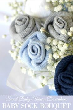 DIY Baby Shower Decorations - DIY Baby Socks Rose Flower Bouquet - Cute and Easy Ways to Decorate for A Baby Shower Ideas in Pink and Blue for Boys and Girls- Games and Party Decor - Banners, Cake, Invitations and Favors Baby Sock Corsage, Baby Sock Bouquet, Diy Baby Shower Decorations, Homemade Decorations, Idee Baby Shower, Baby Shower Gifts, Creative Baby Gifts, Sock Crafts, Diaper Crafts