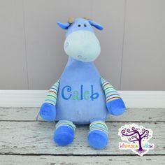 Blue Giraffe Pastel Stuffed Animal Cubbie by WhimsicalWillowLLC