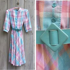 Vintage pastel plaid 1970s/80s shirt dress by bonmarchecouture on Etsy, $12.00