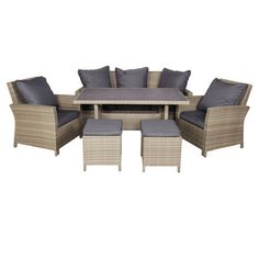 Finlay and Smith Pacific Wicker Low 6 Piece Dining Setting Grey