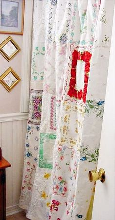 handkerchief shower curtain, Old lace and vintage handkerchiefs from grandma's stash and garage sales. I wanted a vintage looking shower curtain for my bathroom. So shabby chic.