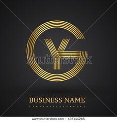 Letter GY or YG linked logo design circle G shape. Elegant gold colored letter symbol. Vector logo design template elements for company identity. - stock vector