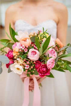 Pink,orange and green modern wedding bouquet. http://www.weddingchicks.com/2014/08/04/modern-meets-organic-spring-wedding/