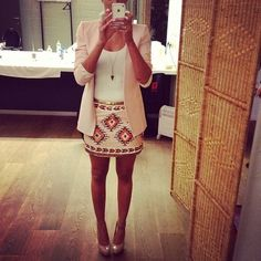 Aztec skirt with white shirt blazer and nude pumps