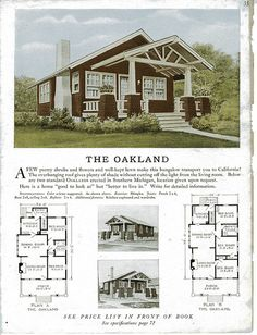 The Oakland - Sterling Kit House  Love the shape, Open the Kitchen/Dining area adding a two way fireplace,  and convert the 3 into 2 bed 2bath.  Screened porch off back with entrances from back bedroom and kitchen.