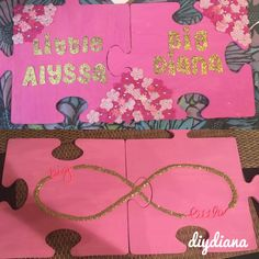Big and little sorority puzzle pieces Bought from crate and Big Little Basket, Big Little Gifts, Sorority Crafts, Sorority Paddles, Big Little Canvas, Greek Crafts, Big Little Reveal, Sorority Sugar, Gamma Phi