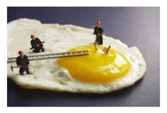Diorama miniature - drowning on the sunny side of breakfast.