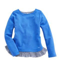 Shop Girls Solid Ruffle Sweatshirt at vineyard vines