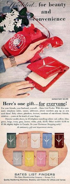 1950s ad for spring-up address book...that used to be so much fun! Cool...it popped open! Even better when your phone matched!