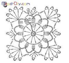 Transcendent Crochet a Solid Granny Square Ideas. Inconceivable Crochet a Solid Granny Square Ideas. Motifs Granny Square, Granny Square Crochet Pattern, Crochet Squares, Crochet Blocks, Crochet Snowflake Pattern, Crochet Motif Patterns, Crochet Chart, Crochet Stitches, Crochet Dollies