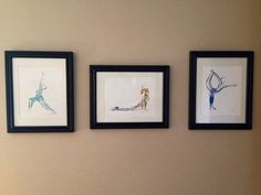 SALE 3 Large Prints Yoga or Pilates Posters by LindsaySatchell