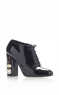 Black patent Lace Up Embellished Heels by Dolce & Gabbana Now Available on Moda Operandi