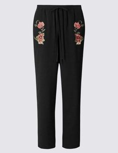Embroidered Tapered Leg Joggers