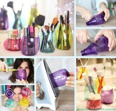 DIY Home Decorations - Holders for cosmetic from plastic bottles