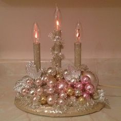 Image detail for -Vintage Christmas Candelabra Pink Gold Silver Ornaments Tinsel . Shabby Chic Cottage Vintage Christmas (smb: I've never seen these plastic candelabras look so good. I find them at garage sales all the time. Christmas Candle Decorations, Christmas Candles, Christmas Love, Christmas Holidays, Victorian Christmas Decorations, Xmas, Vintage Christmas Party, Shabby Chic Christmas Decorations, Pink Decorations
