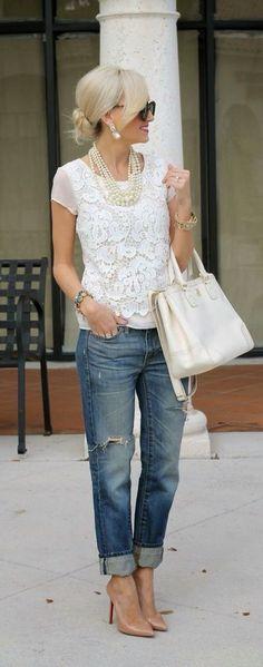 Lace and boyfriend jeans
