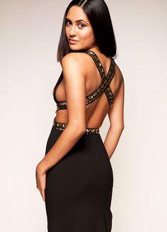 Clothing : Maxi Dresses : 'Teagan' Black Studded Maxi Dress